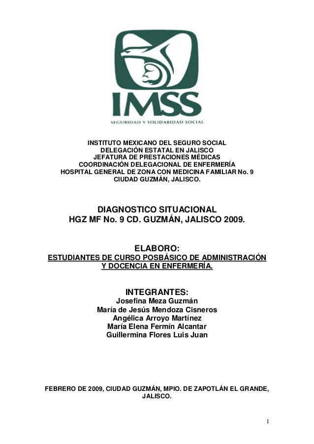 INSTITUTO MEXICANO DEL SEGURO SOCIAL               DELEGACIÓN ESTATAL EN JALISCO             JEFATURA DE PRESTACIONES MÉDI...