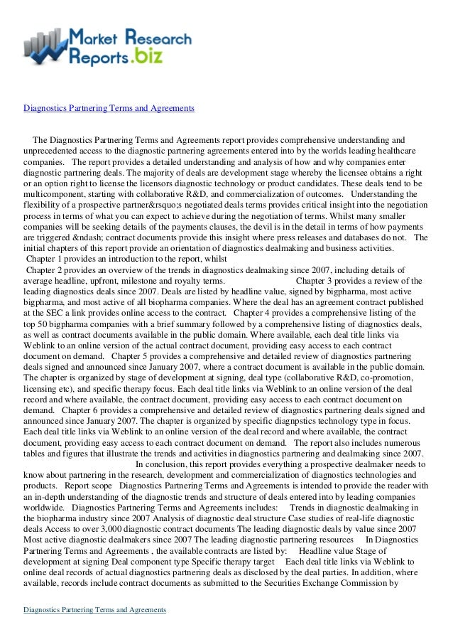 Report Overview: Diagnostics partnering terms and agreements by marketresearchreports.biz