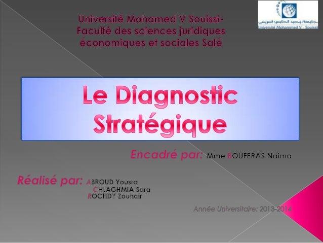 Plan: Introduction générale Concept du diagnostic Stratégique Les matrices des cabinets de consultants Etude de cas