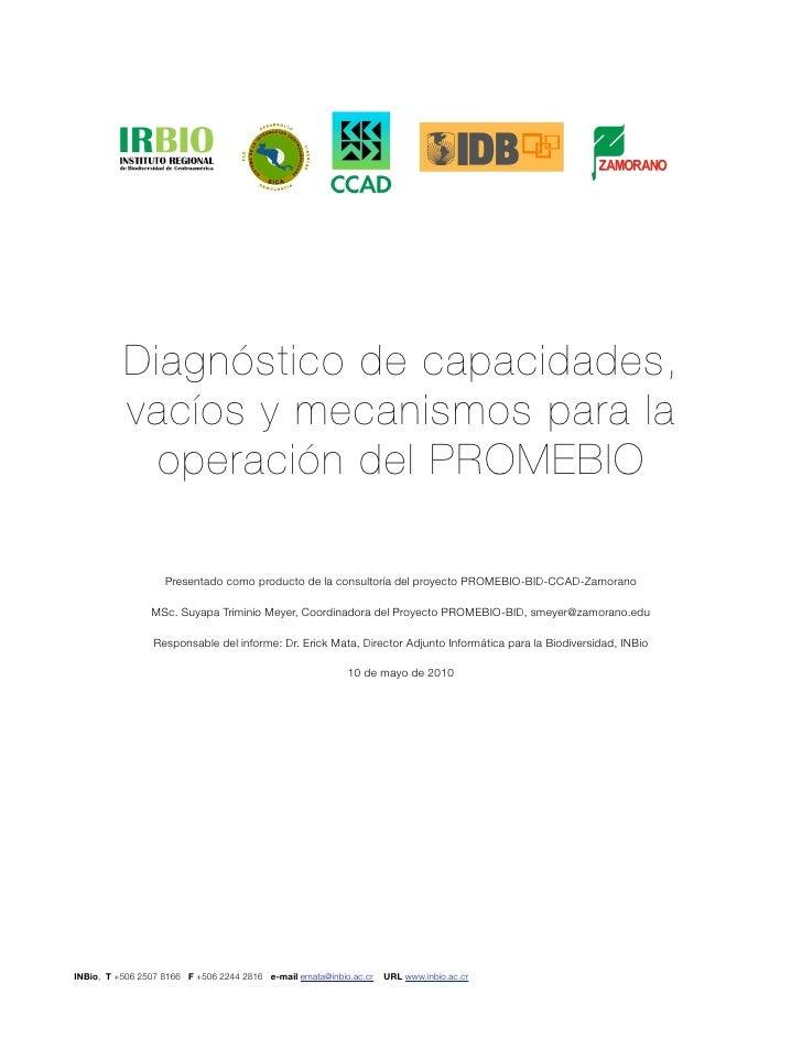 Diagnóstico de capacidades, vacíos y mecanismos de operación del promebio