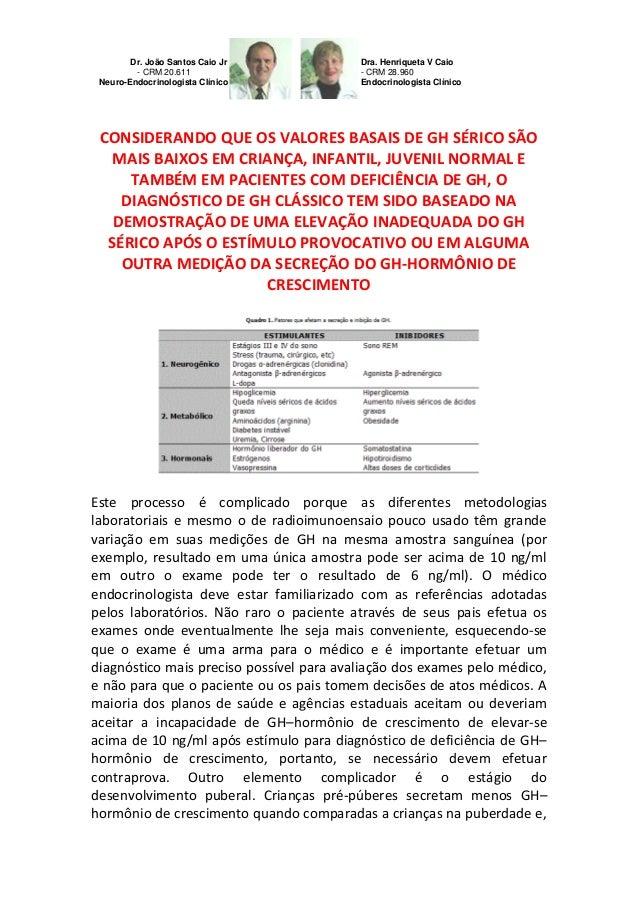 Diagnóstico de Deficiência de GH–em crianças infantil e juvenil;importância laboratório
