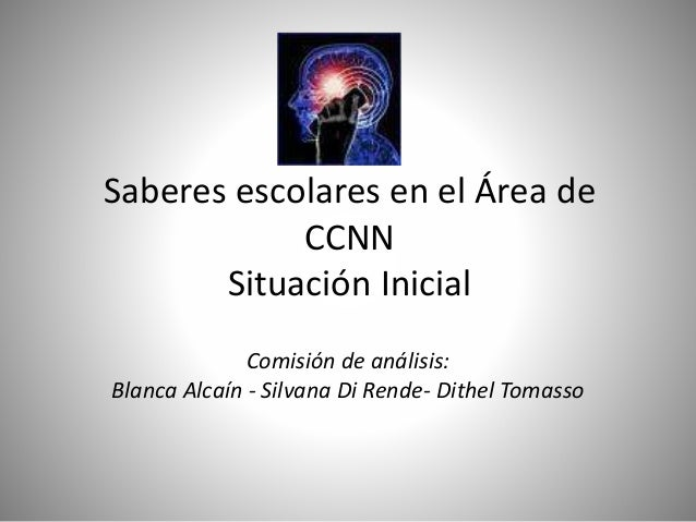 Saberes escolares en el Área de CCNN Situación Inicial Comisión de análisis: Blanca Alcaín - Silvana Di Rende- Dithel Toma...