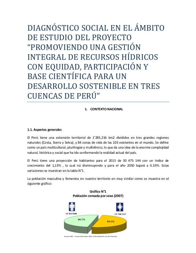 Diagnóstico social en el ámbito de estudio del proyecto de gestión hídrica
