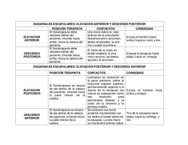 DIAGONALES ESCAPULARES: ELEVACION ANTERIOR Y DESCENSO POSTERIOR  ELEVACION ANTERIOR  DESCENSO POSTERIOR  POSICIÓN TERAPIST...