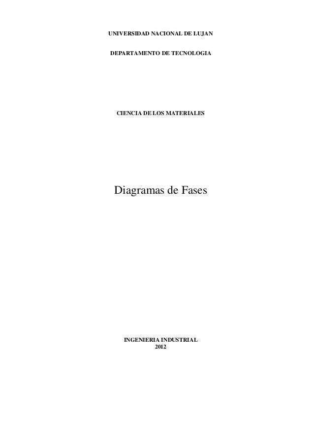UNIVERSIDAD NACIONAL DE LUJAN DEPARTAMENTO DE TECNOLOGIA CIENCIA DE LOS MATERIALES Diagramas de Fases INGENIERIA INDUSTRIA...