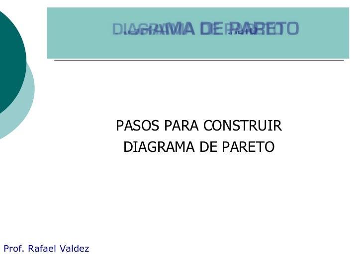 EL DIAGRAMA DE PARETO <ul><li>PASOS PARA CONSTRUIR </li></ul><ul><li>DIAGRAMA DE PARETO </li></ul>Prof. Rafael Valdez