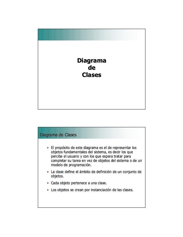 1DiagramaDiagramadedeClasesClases2Diagrama de ClasesDiagrama de Clases•• El propósito de este diagrama es el de representa...