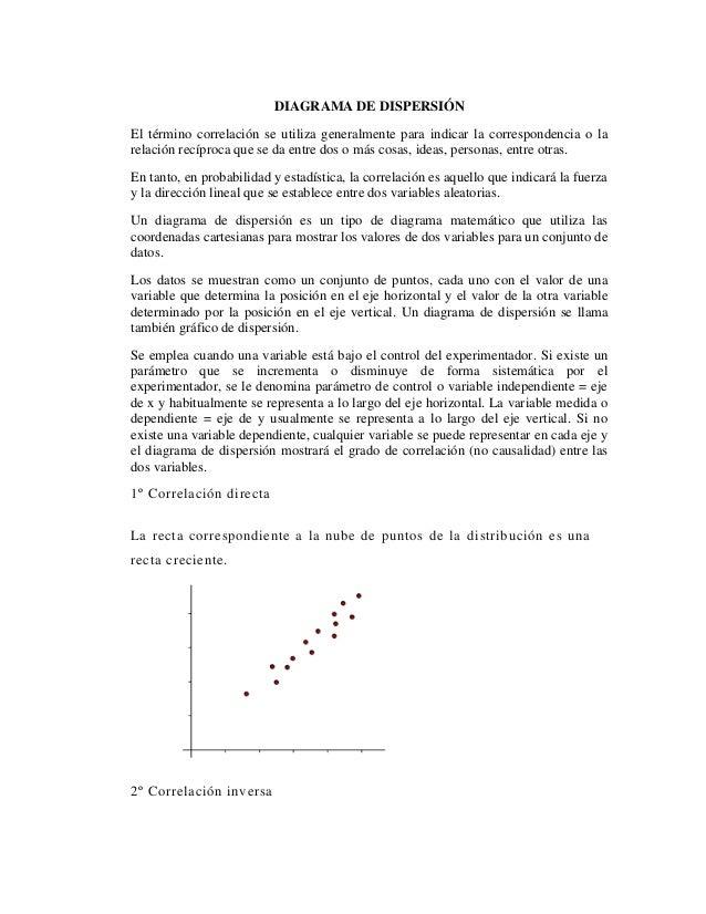 DIAGRAMA DE DISPERSIÓNEl término correlación se utiliza generalmente para indicar la correspondencia o larelación recíproc...