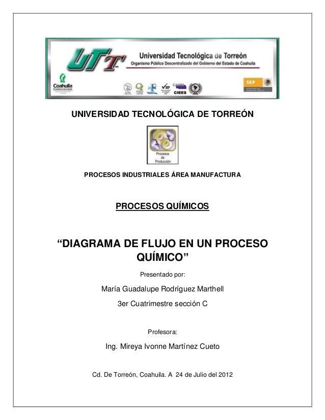 """UNIVERSIDAD TECNOLÓGICA DE TORREÓN    PROCESOS INDUSTRIALES ÁREA MANUFACTURA             PROCESOS QUÍMICOS""""DIAGRAMA DE FLU..."""