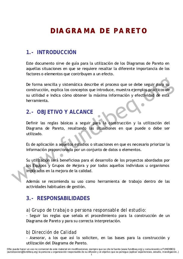 DIAGRAMA DE PARETO                   1.- INTRODUCCIÓN                  Este documento sirve de guía para la utilización de...