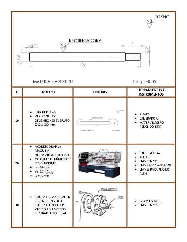 F  10  20  30  PROCESO   LEER EL PLANO.  VERIFICAR LAS DIMENSIONES EN BRUTO Ø12 x 130 mm.   ACONDICIONAR LA MÁQUINA – H...
