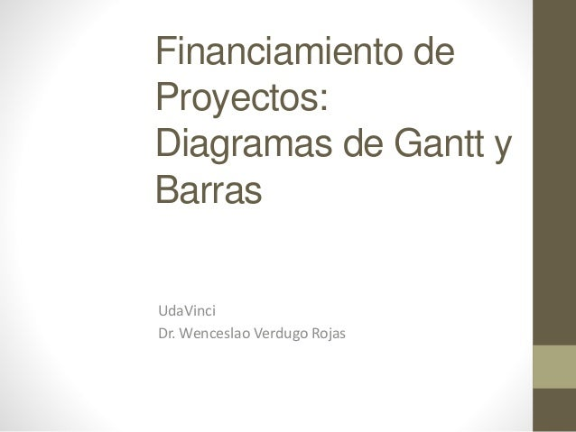 Financiamiento de Proyectos: Diagramas de Gantt y Barras UdaVinci Dr. Wenceslao Verdugo Rojas