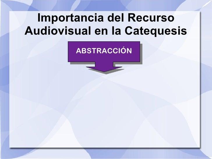 Importancia del Recurso Audiovisual en la Catequesis ABSTRACCIÓN ABSTRACCIÓN