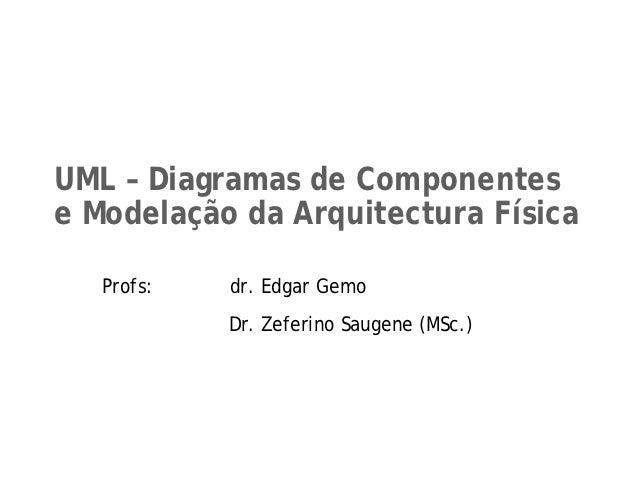 UML – Diagramas de Componentese Modelação da Arquitectura Física   Profs:   dr. Edgar Gemo            Dr. Zeferino Saugene...