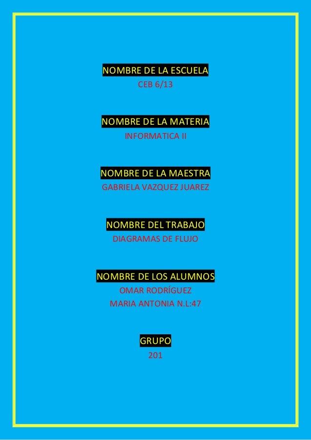 NOMBRE DE LA ESCUELA        CEB 6/13NOMBRE DE LA MATERIA     INFORMATICA IINOMBRE DE LA MAESTRAGABRIELA VAZQUEZ JUAREZ NOM...
