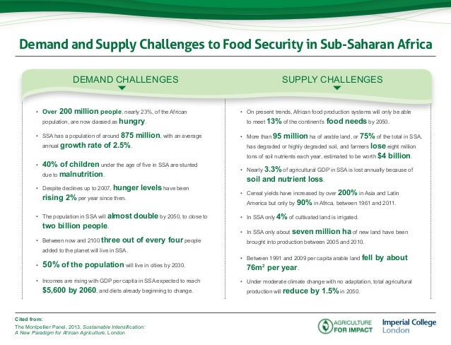 Demand and Supply Challenges to Food Security in Sub-Saharan AfricaCited from:The Montpellier Panel, 2013, Sustainable Int...