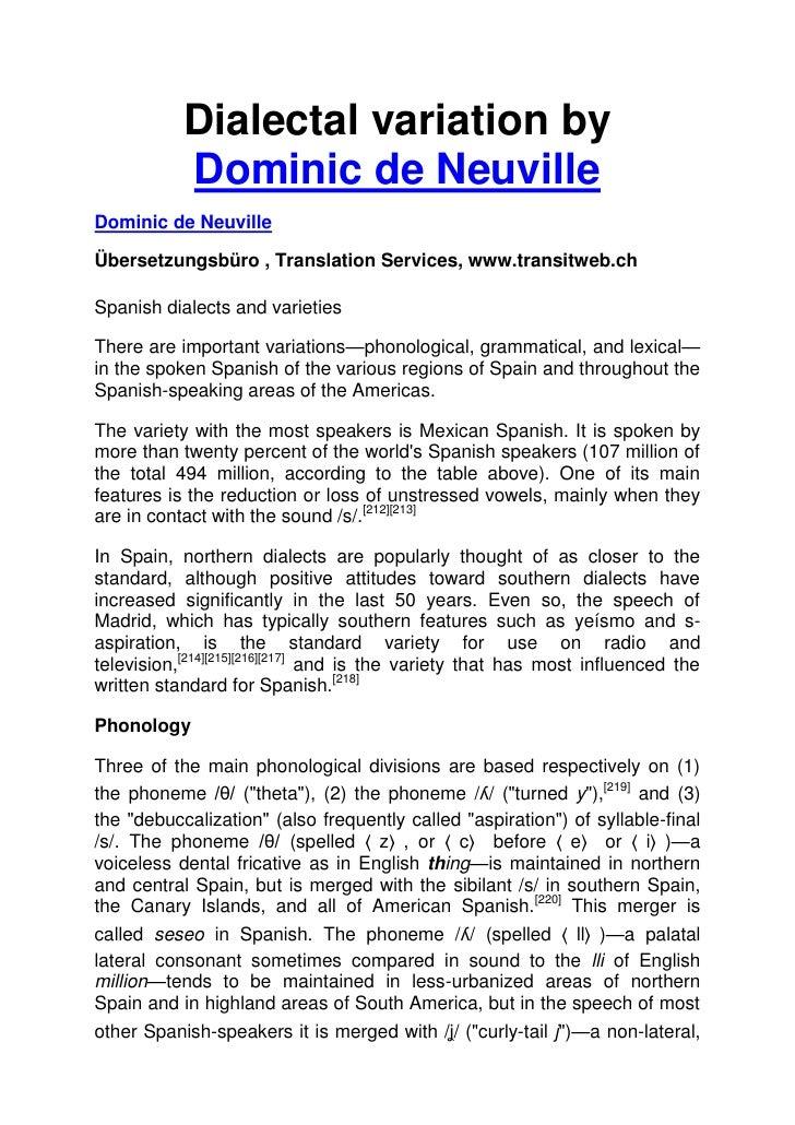 Dialectal variation by           Dominic de NeuvilleDominic de NeuvilleÜbersetzungsbüro , Translation Services, www.transi...