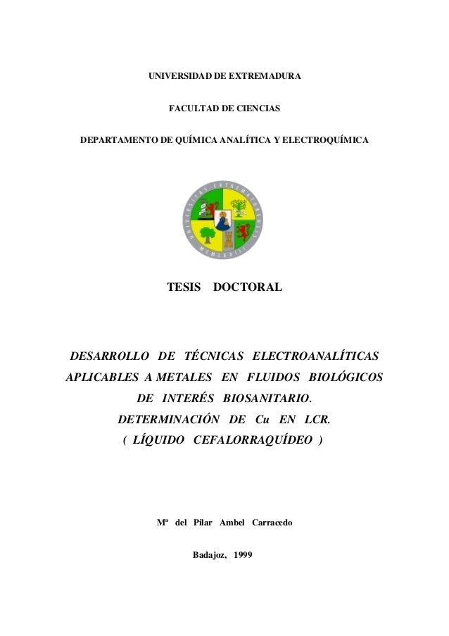 UNIVERSIDAD DE EXTREMADURA                FACULTAD DE CIENCIAS DEPARTAMENTO DE QUÍMICA ANALÍTICA Y ELECTROQUÍMICA         ...
