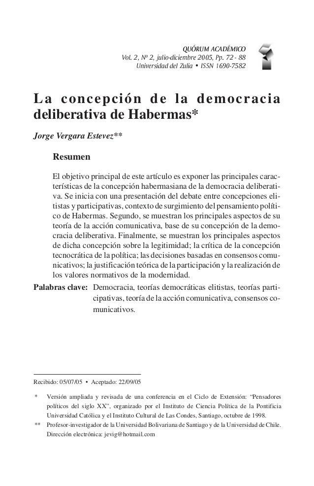 QUÓRUM ACADÉMICOVol. 2, Nº 2, julio-diciembre 2005, Pp. 72 - 88Universidad del Zulia · ISSN 1690-7582La concepción de la d...