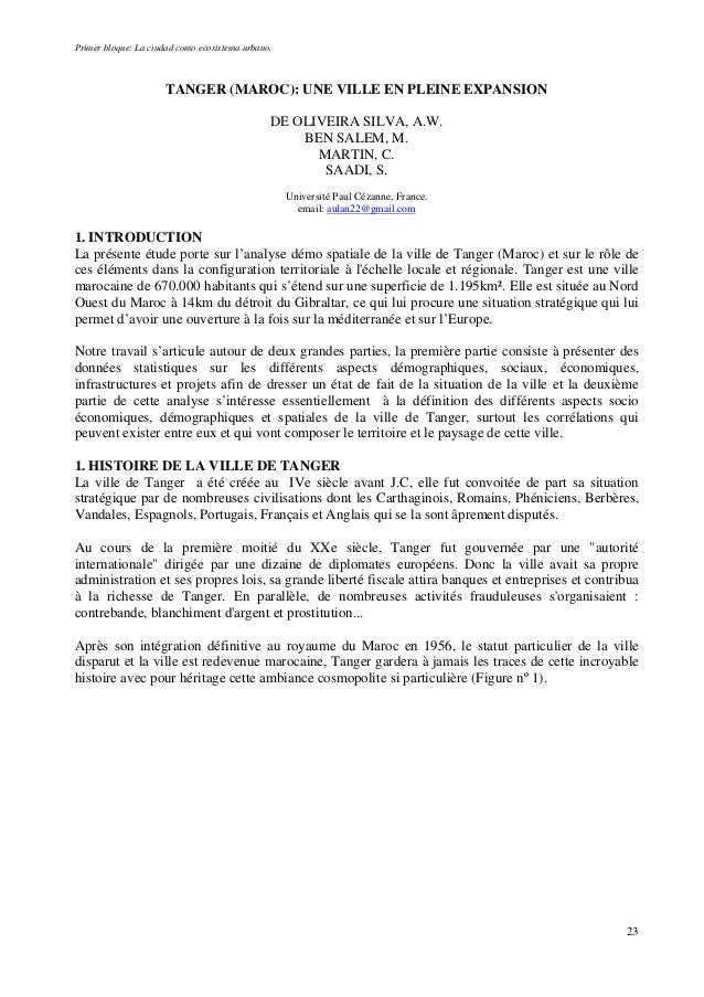 Primer bloque: La ciudad como ecosistema urbano. TANGER (MAROC): UNE VILLE EN PLEINE EXPANSION DE OLIVEIRA SILVA, A.W. BEN...