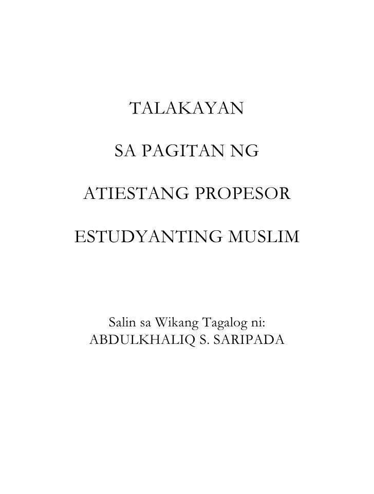 TALAKAYAN SA PAGITAN NG ATIESTANG PROPESOR ESTUDYANTING MUSLIM