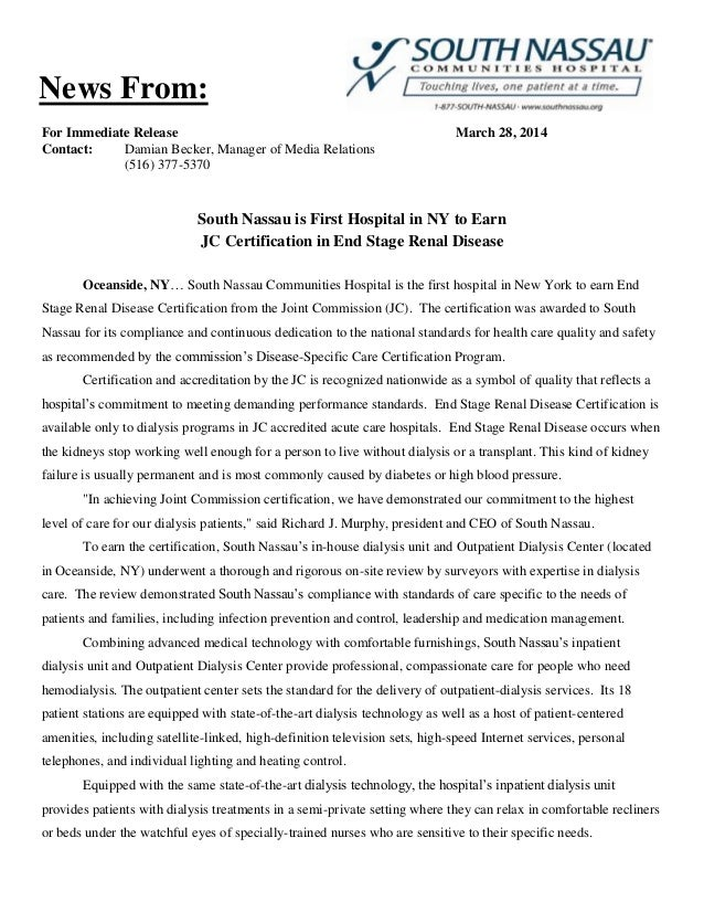 For Immediate Release March 28, 2014 Contact: Damian Becker, Manager of Media Relations (516) 377-5370 South Nassau is Fir...