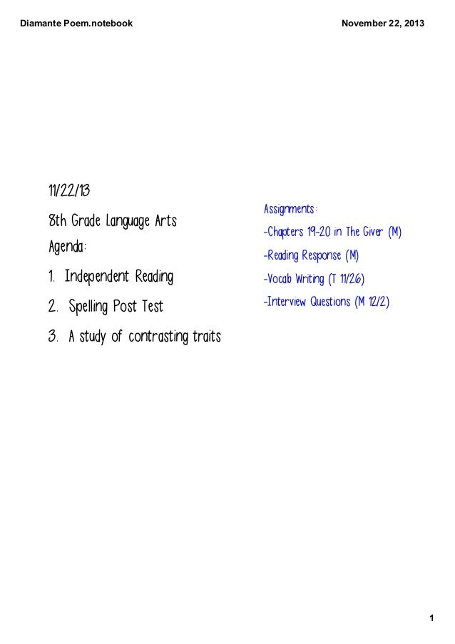 DiamantePoem.notebook  November22,2013  11/22/13 8th Grade Language Arts Agenda:  Assignments: -Chapters 19-20 in The G...