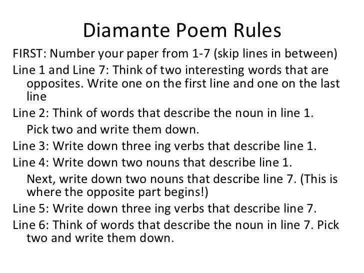 how to write a diamante poem