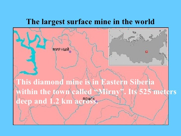 """The largest surface mine in the world This diamond mine is in Eastern Siberia within the town called """"Mirny"""".   Its 525 me..."""
