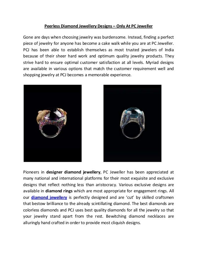 Peerless Diamond Jewellery Designs – Only At PC JewellerGone are days when choosing jewelry was burdensome. Instead, findi...