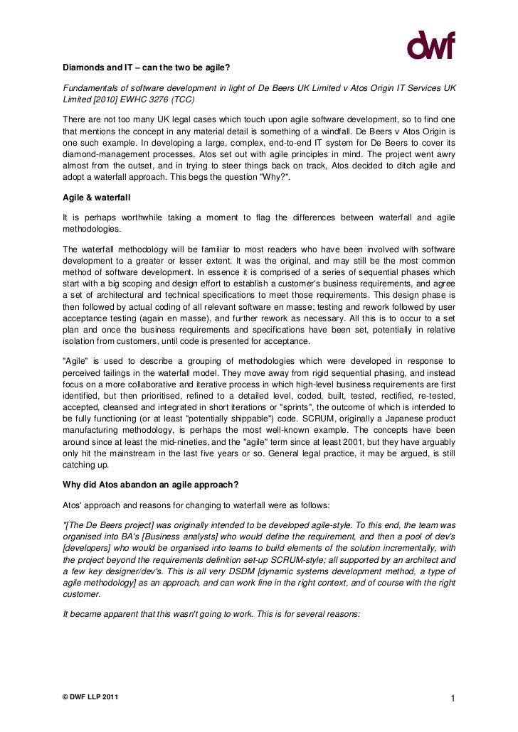 Diamonds & It   Agile Software Development In Light Of De Beers V Atos Origin (Dwf 190511)