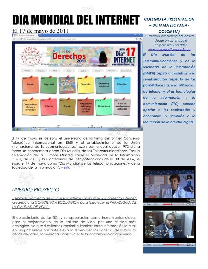 DIA MUNDIAL DEL INTERNET                                                      COLEGIO LA PRESENTACION                     ...