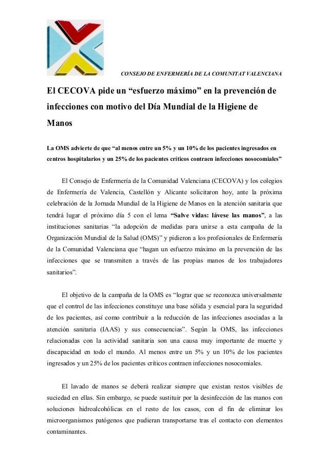"""CONSEJO DE ENFERMERÍA DE LA COMUNITAT VALENCIANAEl CECOVA pide un """"esfuerzo máximo"""" en la prevención deinfecciones con mot..."""