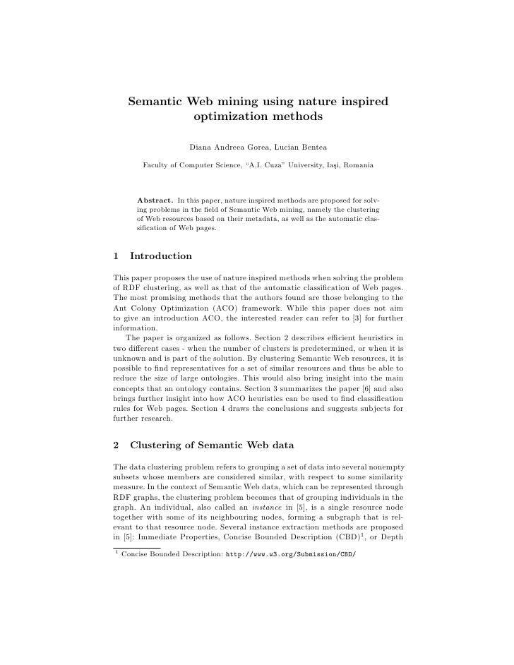 Semantic Web mining using nature inspired                optimization methods                         Diana Andreea Gorea,...