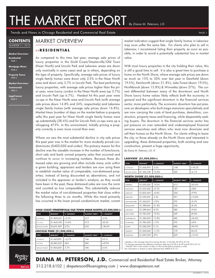 THE MARKET REPORT                                                                                  By Diana M. Peterson, J...