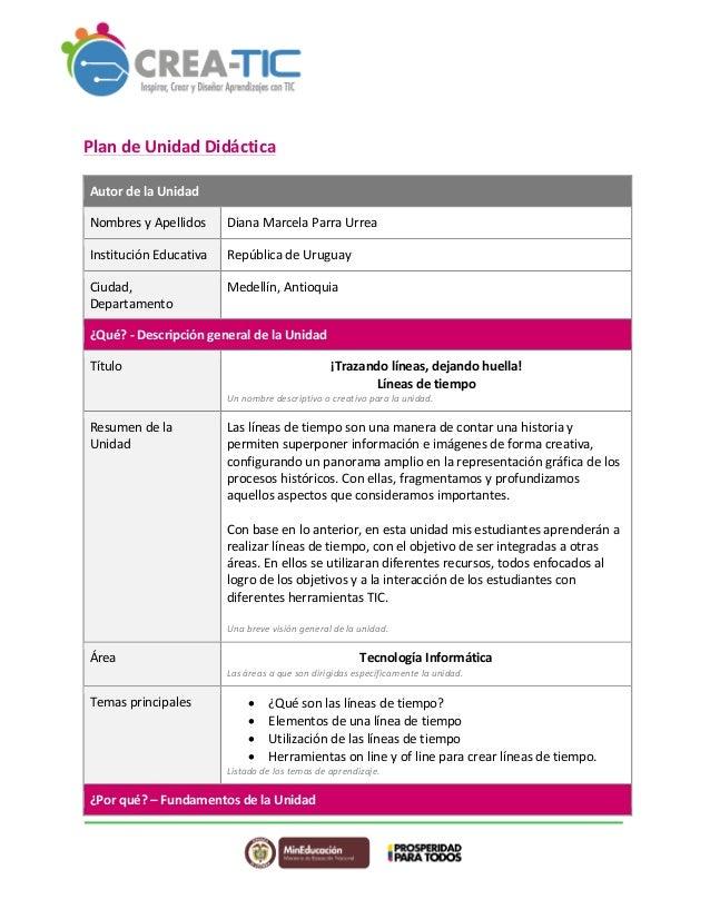 Plan  de  Unidad  Didáctica  Autor  de  la  Unidad  Nombres  y  Apellidos  Diana  Marcela  Parra  Urrea  Institución  Educ...