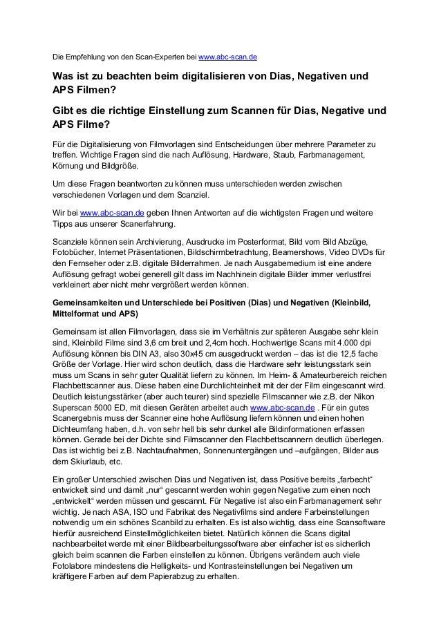 Die Empfehlung von den Scan-Experten bei www.abc-scan.de  Was ist zu beachten beim digitalisieren von Dias, Negativen und ...