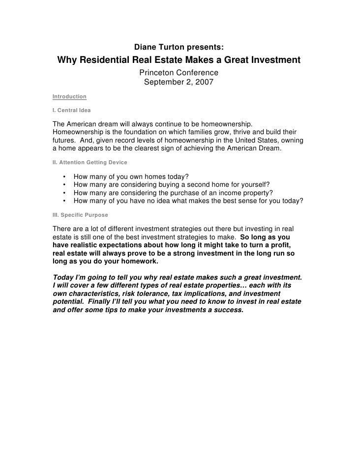 Diane Turton presents:  Why Residential Real Estate Makes a Great Investment                                 Princeton Con...