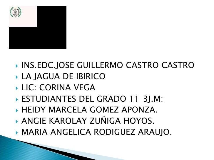    INS.EDC.JOSE GUILLERMO CASTRO CASTRO   LA JAGUA DE IBIRICO   LIC: CORINA VEGA   ESTUDIANTES DEL GRADO 11 3J.M:   H...