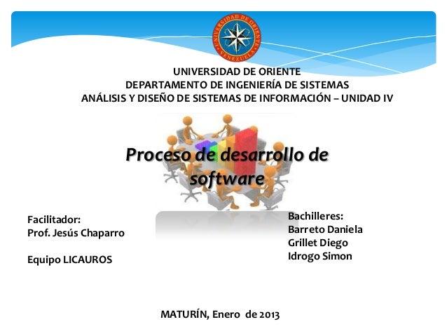 UNIVERSIDAD DE ORIENTE                   DEPARTAMENTO DE INGENIERÍA DE SISTEMAS           ANÁLISIS Y DISEÑO DE SISTEMAS DE...