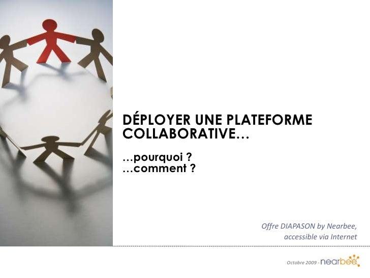 Déployer une plateforme collaborative…<br />…pourquoi ?<br />…comment ?<br />Offre DIAPASON by Nearbee,<br />accessible vi...