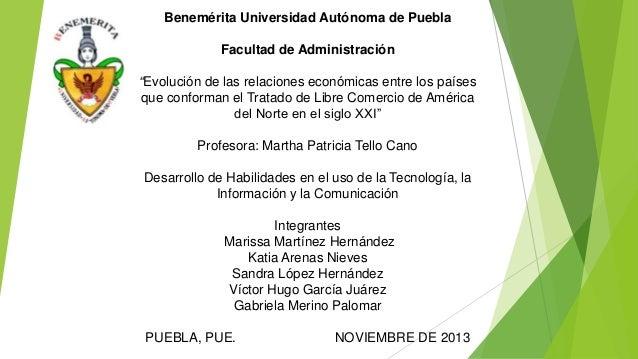 """Benemérita Universidad Autónoma de Puebla Facultad de Administración """"Evolución de las relaciones económicas entre los paí..."""