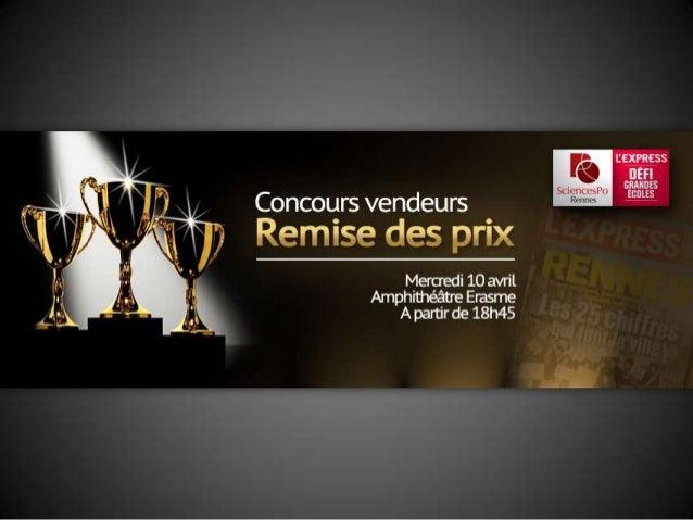 Remise des prix - Concours Vendeurs - Défi L'Express Grandes Ecoles/SciencesPo Rennes