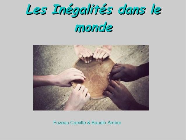 Les Inégalités dans leLes Inégalités dans le mondemonde Fuzeau Camille & Baudin Ambre
