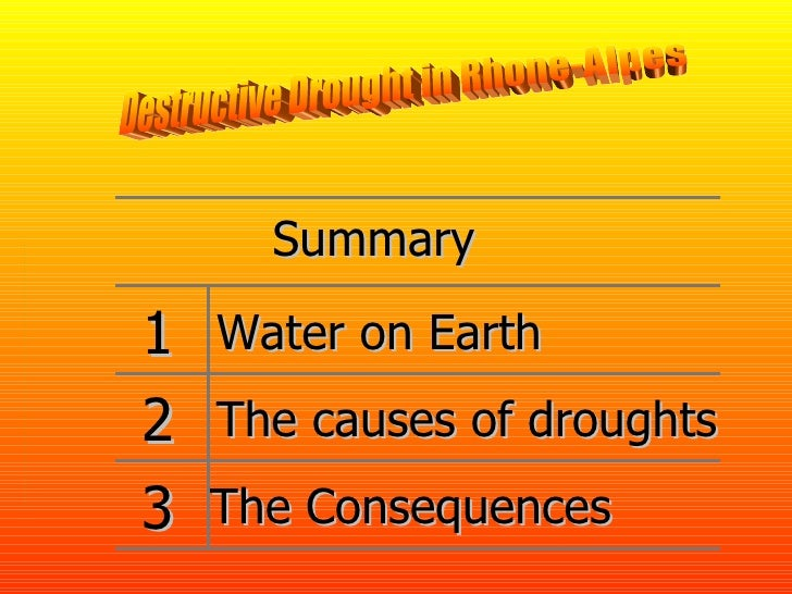 Destructive Drought in Rhone-Alpes Summary The causes of droughts The Consequences 3 2 1 Water on Earth