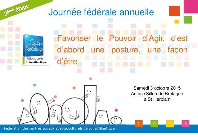 Fédération des centres sociaux et socioculturels de Loire Atlantique 2 0 1 5 Fédération de Loire Atlantique Favoriser le P...