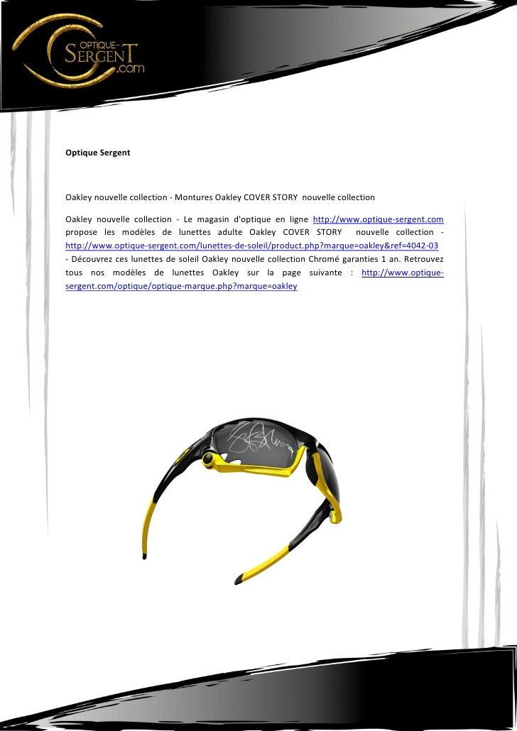 Optique SergentOakley nouvelle collection - Montures Oakley COVER STORY nouvelle collectionOakley nouvelle collection - Le...