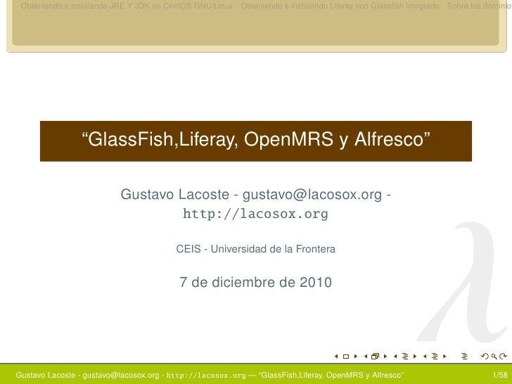 Integración de CentOS 5.3, GlassFish,Liferay, OpenMRS y Alfresco