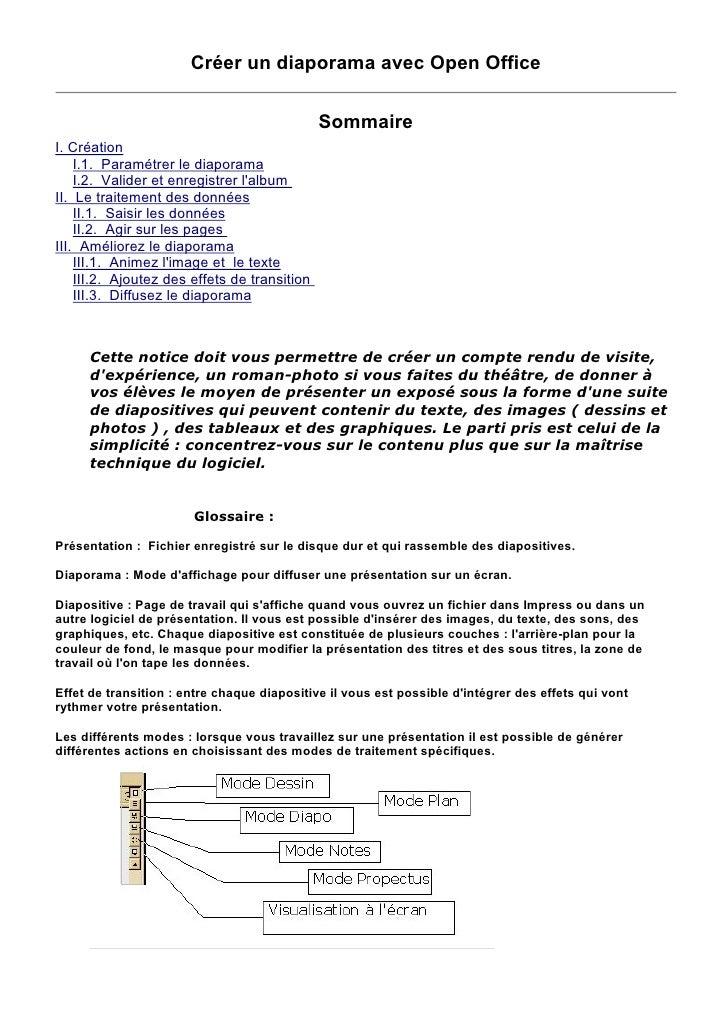 Créer un diaporama avec Open Office                                                Sommaire I. Création     I.1. Paramétre...