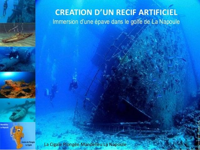 CREATION D'UN RECIF ARTIFICIEL Immersion d'une épave dans le golfe de La Napoule  La Cigale Plongée Mandelieu La Napoule